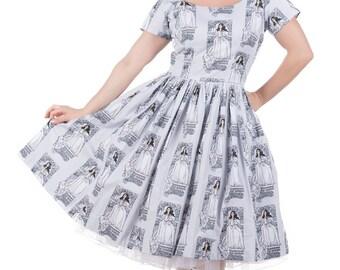 50's style Turn My World Print Cotton Dress, The Labyrinth, Sarah, Jareth, Pinup, vintage reproduction, novelty print