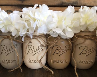 Painted Mason Jars, Taupe Mason Jars, Flower Vases, Earth Tone Wedding, Rustic Burlap Centerpieces, Neutral Tones, Neutral Browns Mason Jars