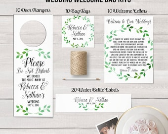 Wedding Welcome Bag Kits,  Destination Wedding, Wedding Favors, Water Bottle Labels, Wedding Labels, Door Hangers