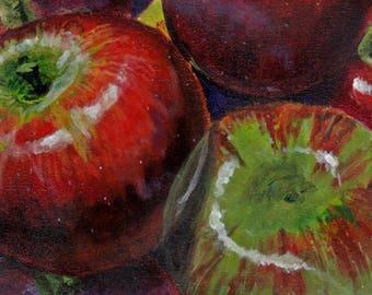 Autumn Apples C-Print; Chromogenic Print of Original Acrylic Painting; Still Life