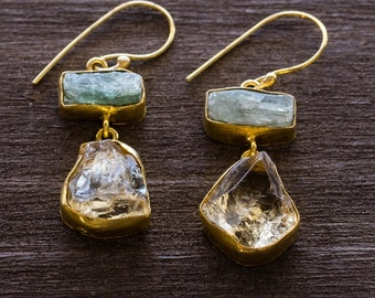 Raw and Rough Gemstone earrings with Citrine and Kyanite