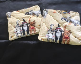 Potholders hot pad pot holder cats on the beach potholder  cats kittens quilted, set of two