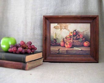 Robert Chailloux Still Life Print Vintage FRUIT Basket of APPLES and PEARS Vintage Fruit Print / Vintage Wall Decor for Kitchen
