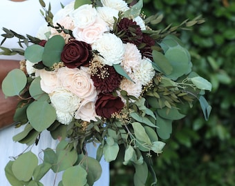 Sola flower bouquet,blush and marsala,wine sola wood flowers,wedding bouquet eco flowers,alternative keepsake bouquet,burgundy sola flowers