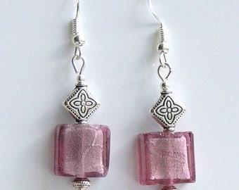Purple Indian Glass Earrings with Sterling Silver Hooks New Drops Dangle LB26