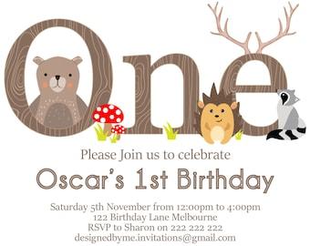 Woodland 1st Birthday Invitation / ONE Invitation -  Bear, Hedgehog and Raccoon - DIY Printing - JPEG File