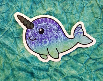 Narwhal Vinyl Decal Sticker - Narwhal silhouette - Narwhal Decal - Mandala Zentangle
