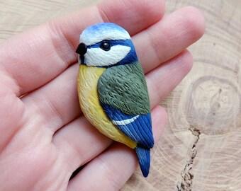 Blue tit brooch, bird pin, polymer clay brooch, bird jewelry, polymer clay bird, tit polymer clay, blue tit jewelry, blue pin