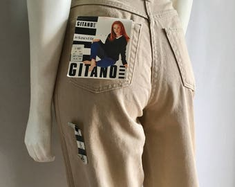 Vintage Women's 90's Unworn, Tan Gitano Jeans, High Waisted, Relaxed Fit, Denim (M)