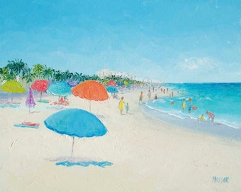 Hollywood Beach Florida oil Painting, beach decor, Beach Art, seascape, California beach, coastal decor, beach wall art,Etsy Art, Jan Matson