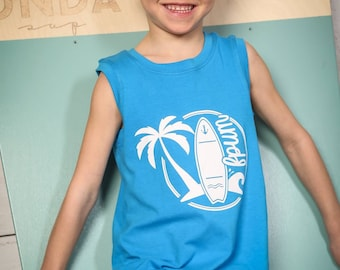 Shirt (tank top) for baby and child, Surf and Palm FPUM (design by Kalinka Bassaraba)