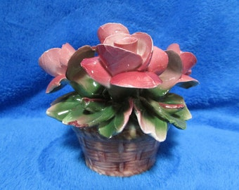 Vintage Capodimonte porcelain roses - Made in Italy