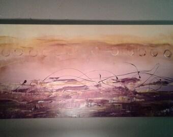 "Contemporary Fine Abstract Wall Canvas Art- Original- 24""x48"""