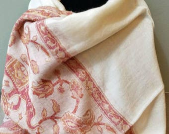 Ivory pashmina, lightweight pashmina, pashmina scarf, elephant shawl, elephant scarf, gifts for her, wedding shawl, Mothers Day gift