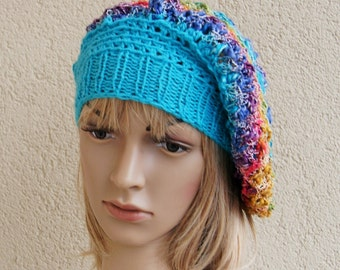 Hat, beret on a smaller head, rainbow, turquoise, acrylic, cotton hat,gift