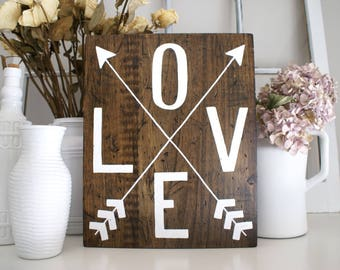 Love with Arrows Rustic Wooden Sign  |  Hand Lettered Hand Drawn  |  Home Decor  |  Gift Idea  |  Farmhouse Style