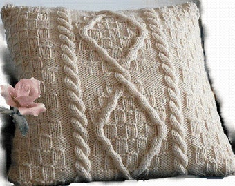 Knitting PATTERN - Cable Aran Cushion Pillow Cover - Fisherman Knit