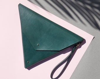 Green Leather Triangle Clutch