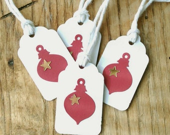 """10 Red Ornament Gift Tags With Metallic Gold Stars on White Kraft, Holiday Gift Tags 1  1/2"""" x 15/16"""" Made Using Recycled, Repurposed"""