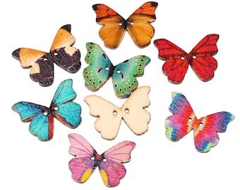 """Butterfly Buttons, Wood, 2 hole, 1-1/8"""" x 7/8"""". 5 count (Button -2)"""