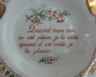 Vtg Guomot Labesse Limoges France ashtray with French text saying