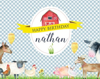 DIGITAL BACKDROP 4ftx6ft - Farm Theme Birthday Banner with Barn and Farm Animals - BLUE - Cow, Pig, Sheep, Chicken, Horse
