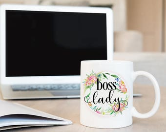Boss lady, Coffee mug, Girl boss mug, Inspirational mug, Ceramic coffee mug, Girlfriend gift, Boss gift, Unique coffee mugs, BD-2007
