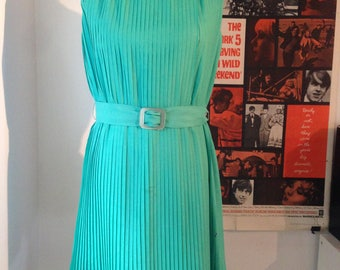 1960s Green Pleated Dress by D'Aillards With Matching Belt