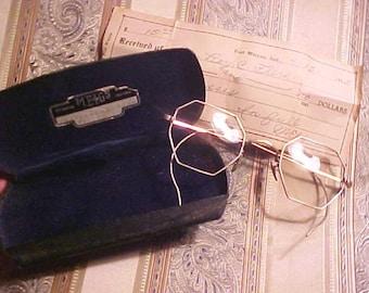 Vintage Eyeglasses & Case 8 Sided MEIGS/ receipt 1/10 12 Kt