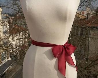Dark red burgundy silk chiffon hair band or tie belt
