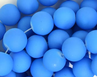"""12mm frost matte glass round beads 15"""" strand blue 35924"""