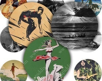 Hula Girls, Surfers, Hawaii Princesses and more in 1 inch circles -- piddix digital collage sheet no. 304