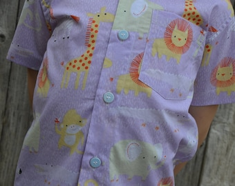 Organic Cotton Toddler Boy Girl Neutral Handmade Button Down Shirt - Lavender Purple or Green Zoo Animals - Sibling Matching - Animaux 3160