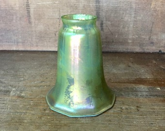 "Lundberg Studios Art Glass Shade Green Gold Luster 2"" fitter Art Nouveau"
