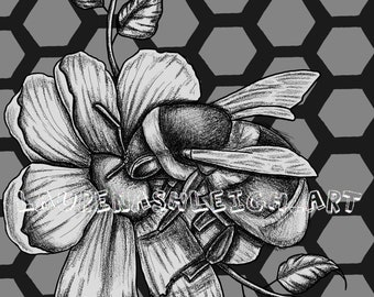 Bee and flower print