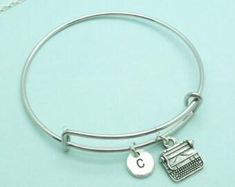 Typewriter charm bangle bracelet, Typewriter personalised initial bangle, letter, personalised charm, secretary, writer, typist, typing