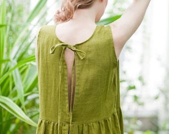 Linen dress, Bohemian dress, Olive dress, Simple dress, Casual dress, Ribbon dress, Cosy dress, Short dress, Summer dress