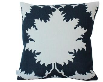 Schumacher Garden of Persia Pillow Cover in Navy Blue