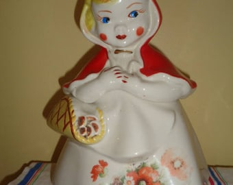 Charming Vintage Hull Little Red Riding Hood Open Basket Cookie Jar # 1