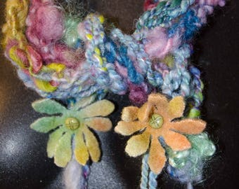 Art Yarn Scarf Funky and Fun * Hand Spun Funky Scarf with Felted Wool Flowers-  * OOAK *  Finger Knit * Wrap Around Scarf * Gift for Her