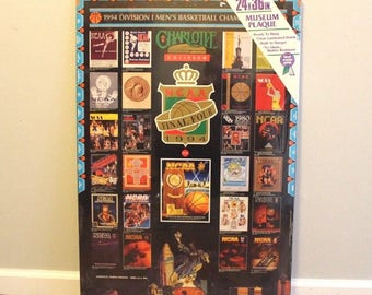 90s New 1994 NCAA Final Four Basketball Charlotte North Carolina 24x36 Wooden Museum Plaque, Vintage Basketball Poster, Man Cave Wall Art