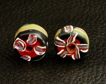 V 149- Two attractive tabular fancy beads