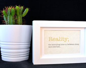Urban Dictionary Wall Art / Reality Definition / Dictionary Art / Funny Definition / Word Art