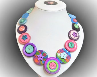 Button necklace - Circus Stars. Gift for her, boho necklace, statement necklace, unique gift, buttons, handmade jewelry, Mothers Day, OOAK