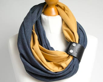 COTTON infinity scarf with leather strap cuff, infinity scarves, fashion scarf, ZOJANKA, autumn cotton scarf, autumn accessories