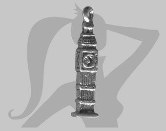 Breloque Big Ben 3D en métal argenté 25 x 5mm