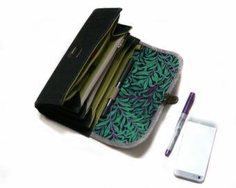 Embrayage de portefeuille système enveloppe moyenne - organisateur argent fermeture à glissière, coupon cadeau affaire pour son portefeuille ardoise gris spacieux manches prêt à expédier
