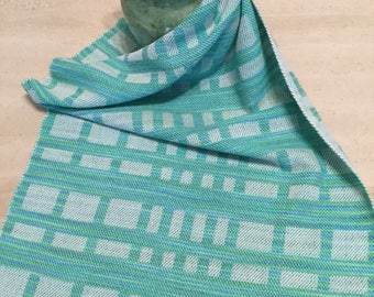 Handwoven Cotton  and Linen Towel for Kitchen or Bath - Aqua blue, Green & White - Gift for any occasion - Hand Woven Towel Gift