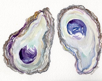 2 Oyster Shells Original Watercolor Painting 5 x 7 oyster watercolor, oyster art, oyster painting, watercolor oysters wabi-sabi, NOT a print