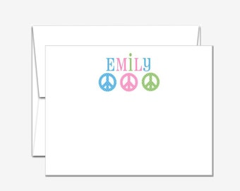 Personalized Stationery - Peace Signs - Flat Note Cards